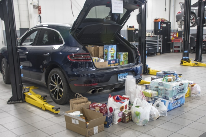 Wallingford-Porsche - to-much-food-collected-at-wallingford-food-drivefor-macan